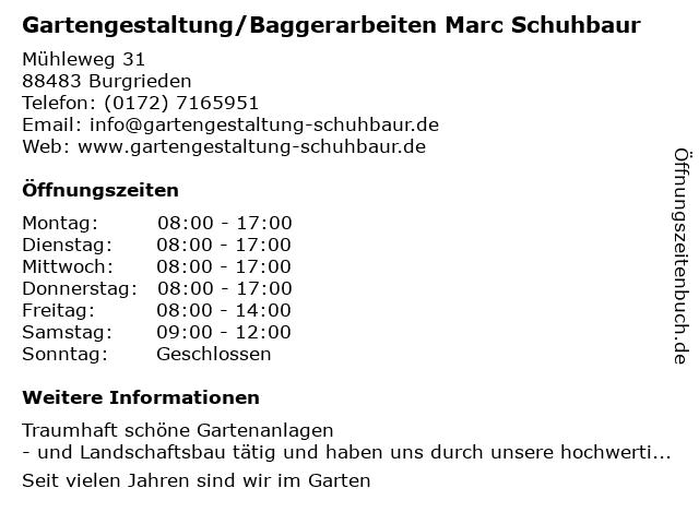 Gartengestaltung/Baggerarbeiten Marc Schuhbaur in Laupheim: Adresse und Öffnungszeiten
