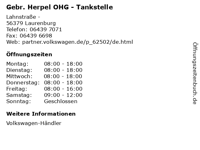 Gebr. Herpel OHG - Tankstelle in Laurenburg: Adresse und Öffnungszeiten