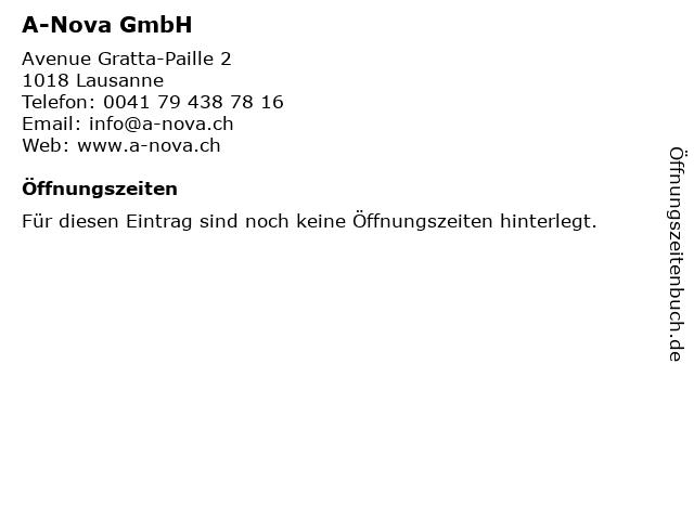 A-Nova GmbH in Lausanne: Adresse und Öffnungszeiten
