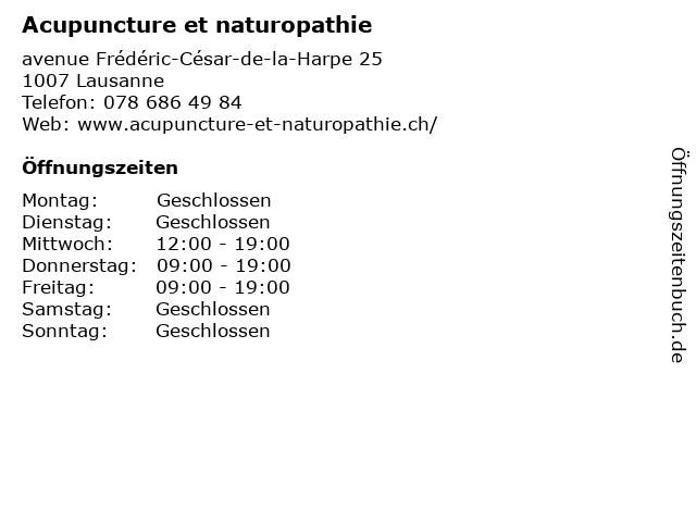 Acupuncture et naturopathie in Lausanne: Adresse und Öffnungszeiten