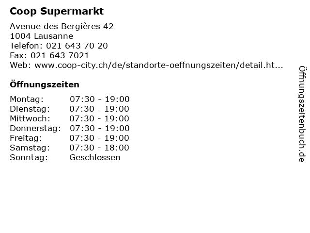 Coop Supermarkt in Lausanne: Adresse und Öffnungszeiten