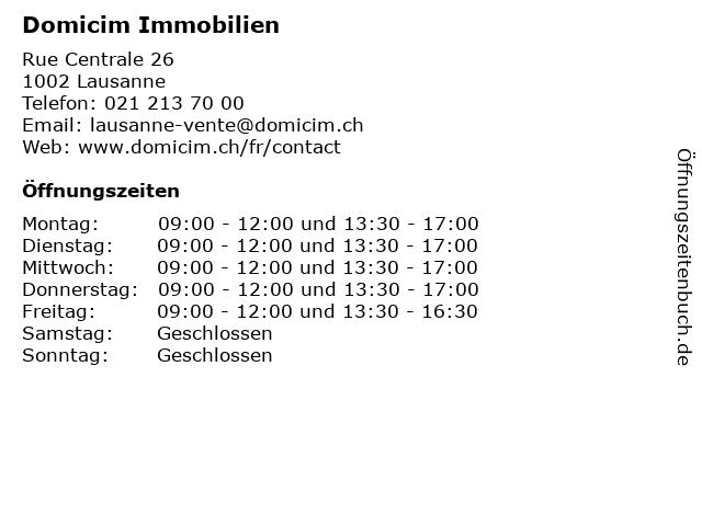 Domicim Immobilien in Lausanne: Adresse und Öffnungszeiten