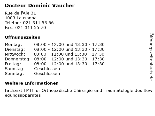 Dominic Vaucher in Lausanne: Adresse und Öffnungszeiten