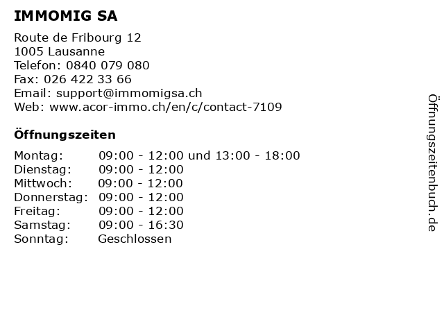 IMMOMIG SA in Lausanne: Adresse und Öffnungszeiten