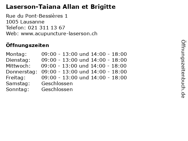 Laserson-Taiana Allan et Brigitte in Lausanne: Adresse und Öffnungszeiten