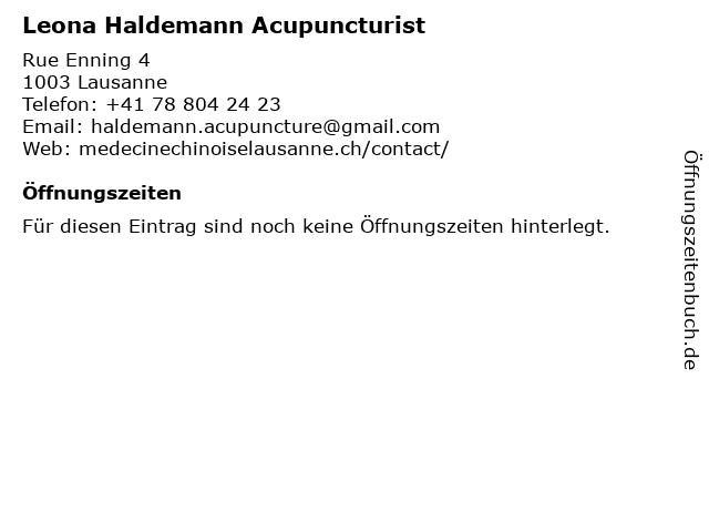 Leona Haldemann Acupuncturist in Lausanne: Adresse und Öffnungszeiten
