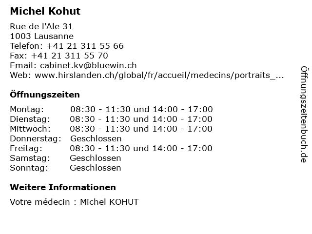Michel Kohut in Lausanne: Adresse und Öffnungszeiten