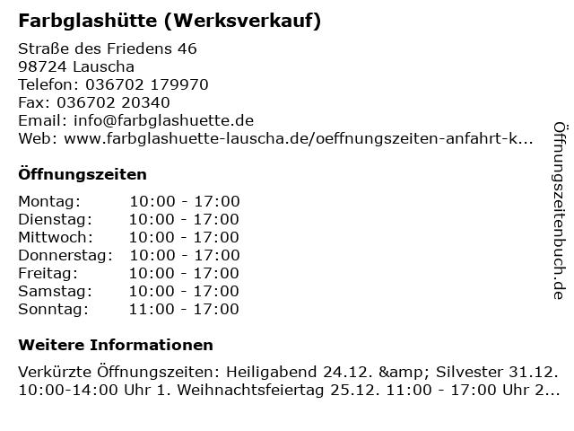 Farbglashütte (Werksverkauf) in Lauscha: Adresse und Öffnungszeiten
