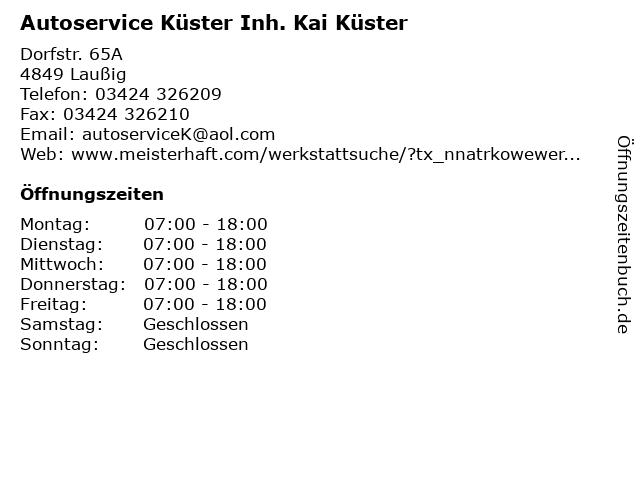 Autoservice Küster Inh. Kai Küster in Laußig: Adresse und Öffnungszeiten