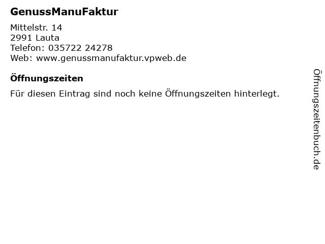 GenussManuFaktur in Lauta: Adresse und Öffnungszeiten