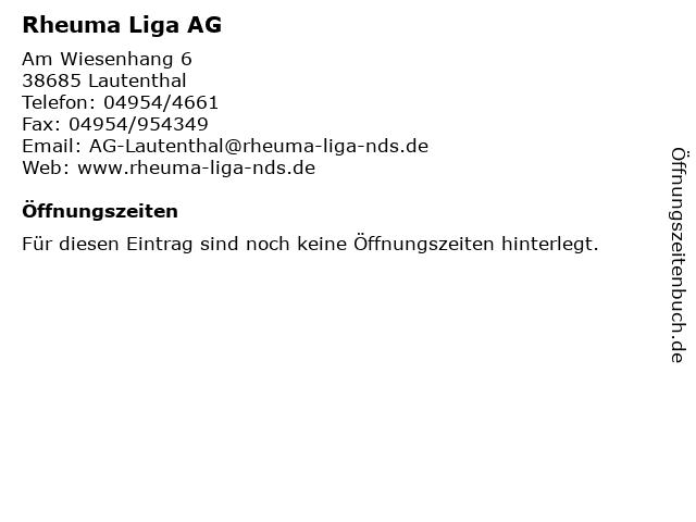 Rheuma Liga AG in Lautenthal: Adresse und Öffnungszeiten