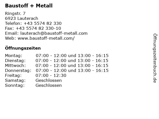 Baustoff + Metall in Lauterach: Adresse und Öffnungszeiten