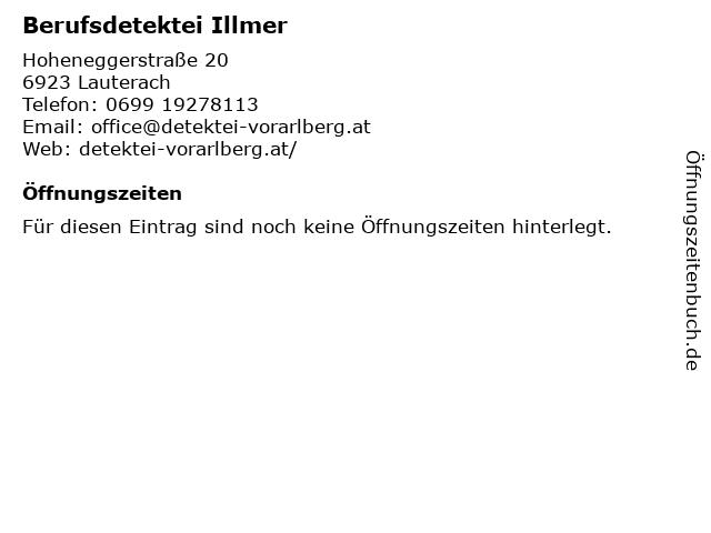 Berufsdetektei Illmer in Lauterach: Adresse und Öffnungszeiten