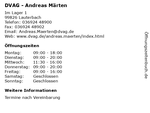 DVAG - Andreas Märten in Lauterbach: Adresse und Öffnungszeiten