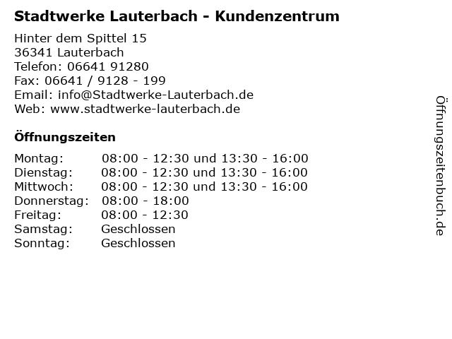 Stadtwerke Lauterbach - Kundenzentrum in Lauterbach: Adresse und Öffnungszeiten