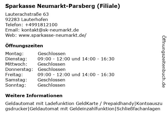 Sparkasse Neumarkt-Parsberg in Lauterhofen: Adresse und Öffnungszeiten