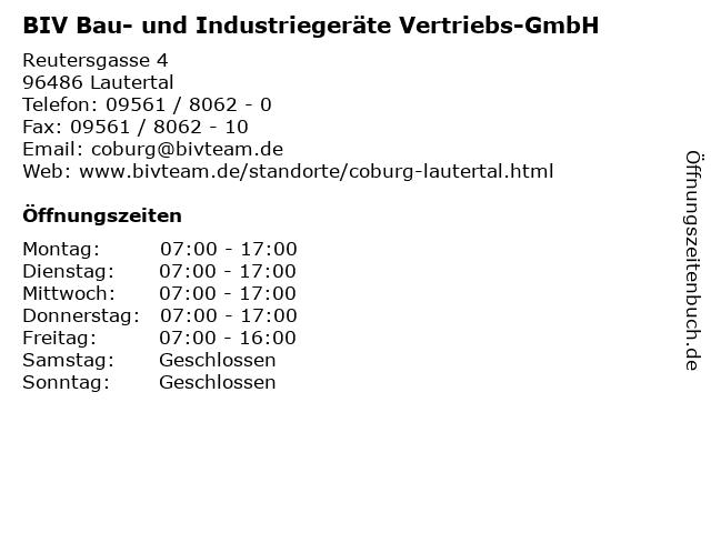 ᐅ Offnungszeiten Biv Bau Und Industriegerate Vertriebs Gmbh Reutersgasse 4 In Lautertal