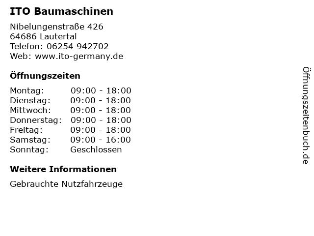 ITO Baumaschinen in Lautertal: Adresse und Öffnungszeiten