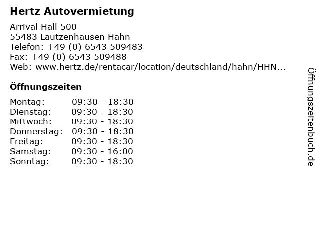 Hertz Autovermietung in Lautzenhausen Hahn: Adresse und Öffnungszeiten