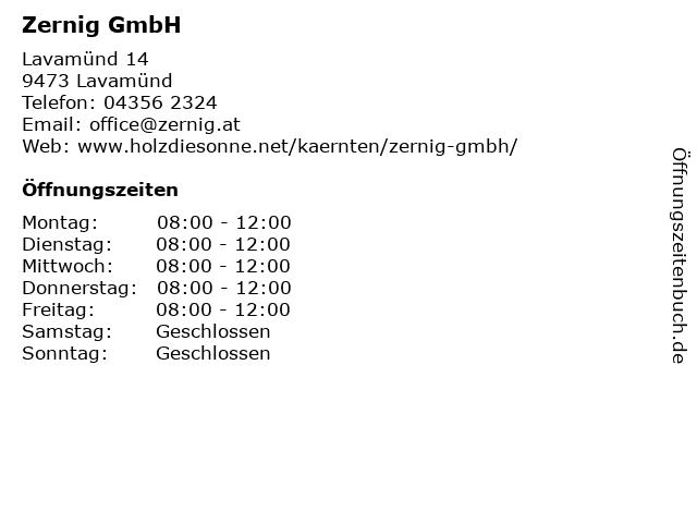Zernig GmbH in Lavamünd: Adresse und Öffnungszeiten