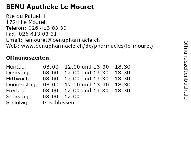 BENU Apotheke Le Mouret in Le Mouret: Adresse und Öffnungszeiten
