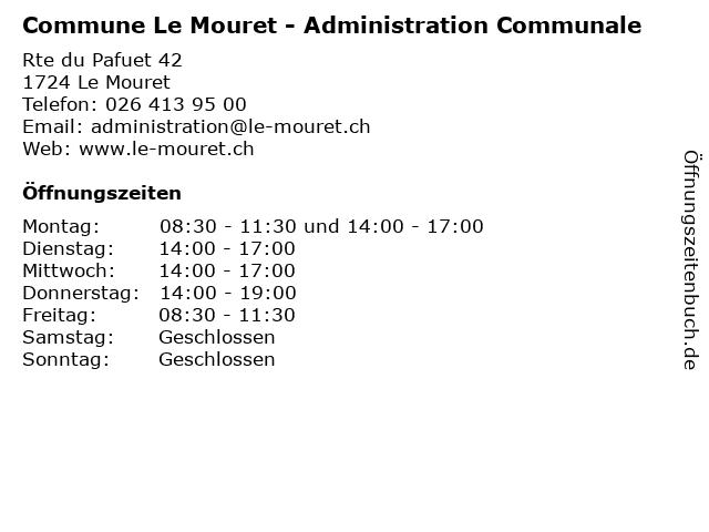 Commune Le Mouret - Administration Communale in Le Mouret: Adresse und Öffnungszeiten