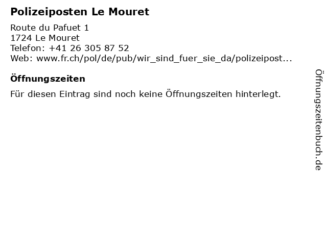 Polizeiposten Le Mouret in Le Mouret: Adresse und Öffnungszeiten