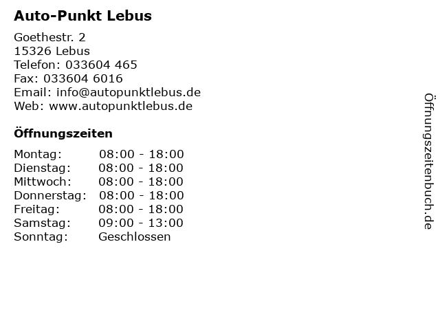 Auto-Punkt Lebus in Lebus: Adresse und Öffnungszeiten