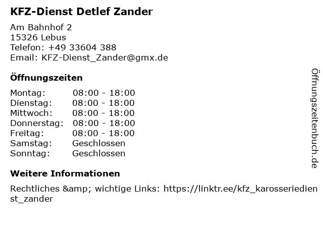 KFZ-Dienst Detlef Zander in Lebus: Adresse und Öffnungszeiten