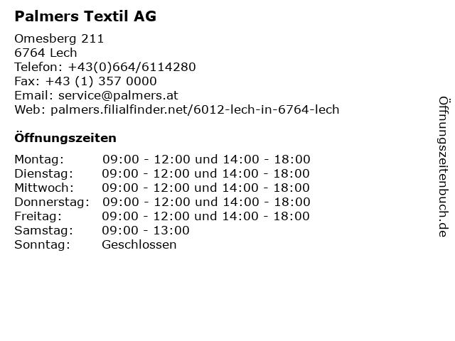 Palmers Textil AG in Lech: Adresse und Öffnungszeiten