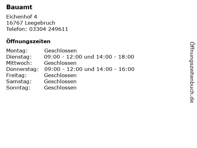 Bauamt in Leegebruch: Adresse und Öffnungszeiten