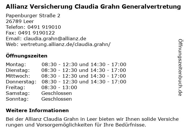 Allianz Claudia Grahn in Leer: Adresse und Öffnungszeiten