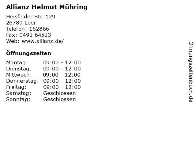 Allianz Helmut Mühring in Leer: Adresse und Öffnungszeiten