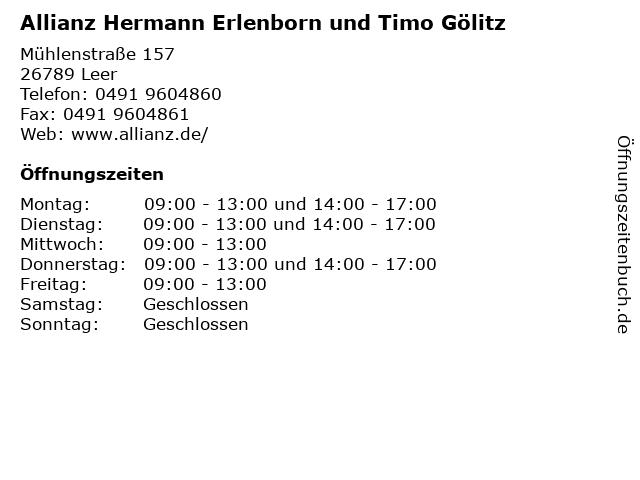 Allianz Hermann Erlenborn und Timo Gölitz in Leer: Adresse und Öffnungszeiten