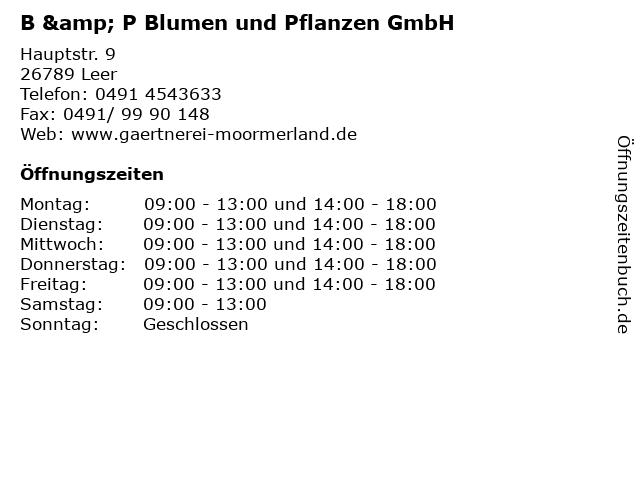 B & P Blumen und Pflanzen GmbH in Leer: Adresse und Öffnungszeiten