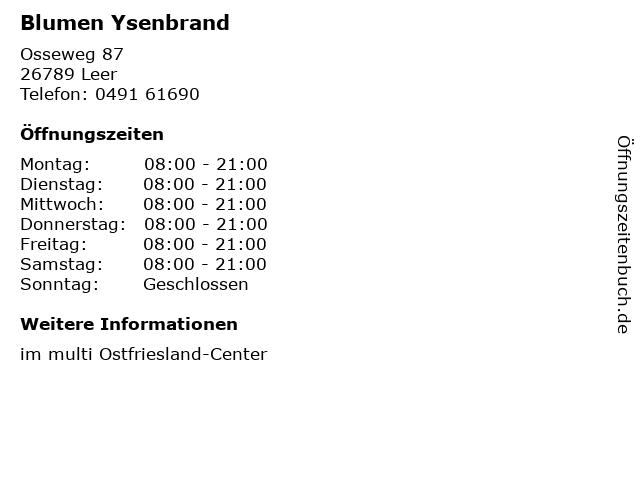 Blumen Ysenbrand in Leer: Adresse und Öffnungszeiten