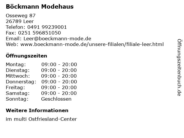 Böckmann Modehaus in Leer: Adresse und Öffnungszeiten