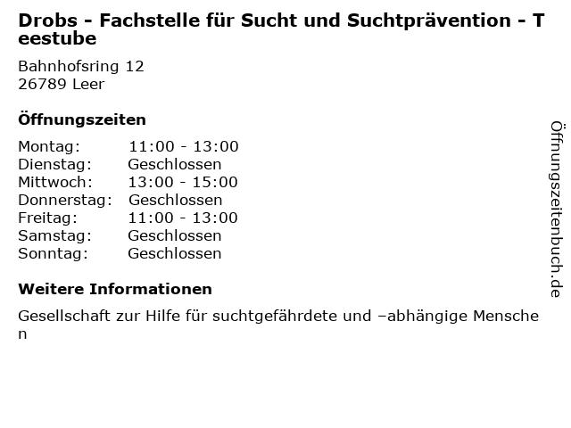 Drobs - Fachstelle für Sucht und Suchtprävention - Teestube in Leer: Adresse und Öffnungszeiten
