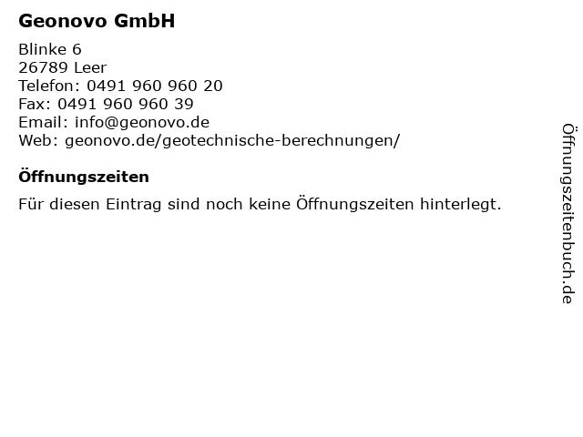 Geonovo GmbH in Leer: Adresse und Öffnungszeiten