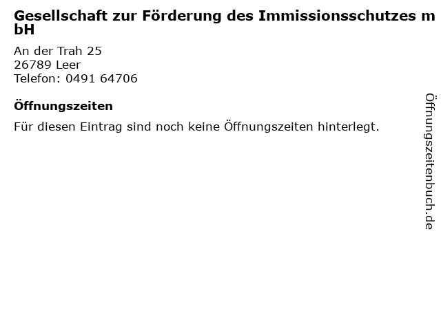 Gesellschaft zur Förderung des Immissionsschutzes mbH in Leer: Adresse und Öffnungszeiten