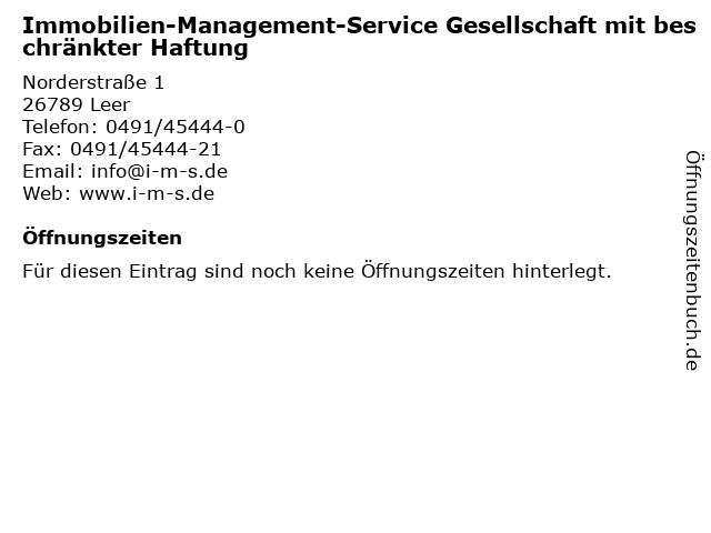 Immobilien-Management-Service Gesellschaft mit beschränkter Haftung in Leer: Adresse und Öffnungszeiten