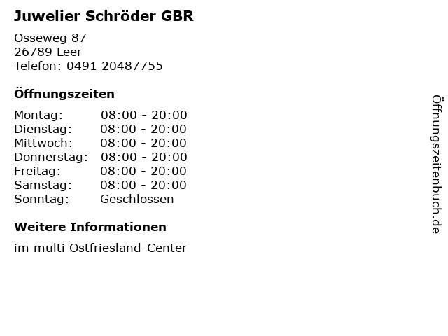 Juwelier Schröder GBR in Leer: Adresse und Öffnungszeiten