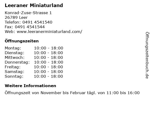 Leeraner Miniaturland in Leer: Adresse und Öffnungszeiten