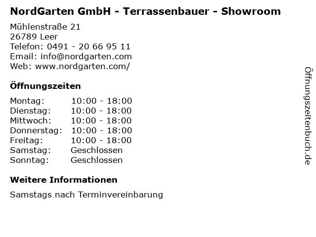 NordGarten GmbH - Terrassenbauer - Showroom in Leer: Adresse und Öffnungszeiten