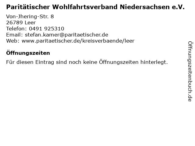 Paritätischer Wohlfahrtsverband Niedersachsen e.V. in Leer: Adresse und Öffnungszeiten
