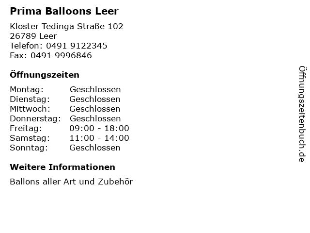 Prima Balloons Leer in Leer: Adresse und Öffnungszeiten