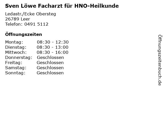 Sven Löwe Facharzt für HNO-Heilkunde in Leer: Adresse und Öffnungszeiten