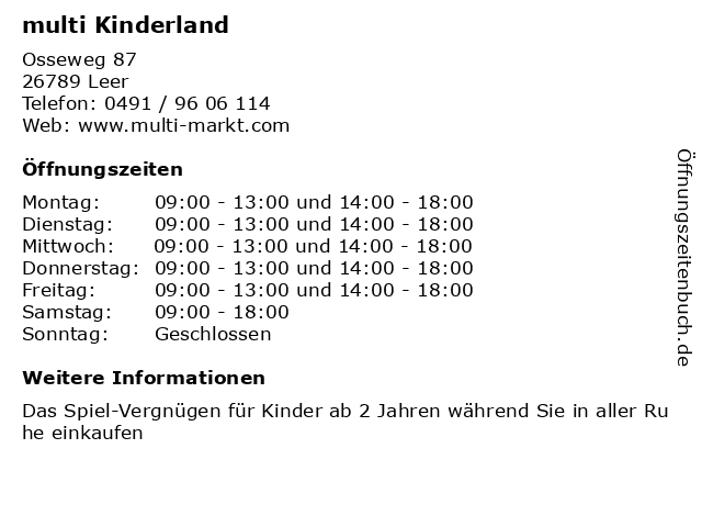 multi Kinderland in Leer: Adresse und Öffnungszeiten
