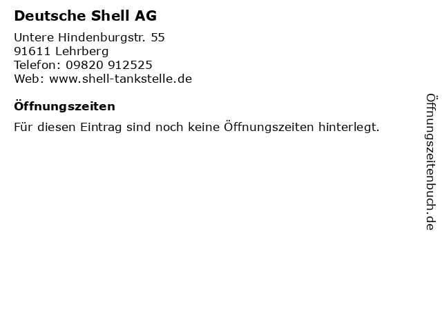 Deutsche Shell AG in Lehrberg: Adresse und Öffnungszeiten