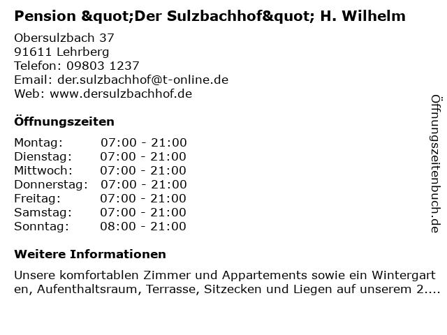 """Pension """"Der Sulzbachhof"""" H. Wilhelm in Lehrberg: Adresse und Öffnungszeiten"""